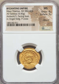 Ancients:Byzantine, Ancients: Maurice Tiberius (AD 582-602). AV solidus (4.45 gm). NGCMS 4/5 - 3/5, clipped....