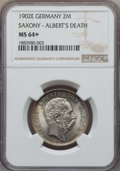 German States:Saxony, German States: Saxony. Albert 2 Mark 1902-E MS64+ NGC,...