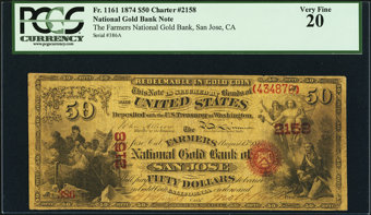 Featured item image of San Jose, CA - $50 Original National Gold Bank Note Fr. 1161 The Farmers National Gold Bank Ch. # 2158  ...
