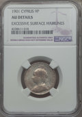 Cyprus:British Colony, Cyprus: British Colony. Victoria 9 Piastres 1901 AU Details (Excessive Surface Hairlines) NGC,...