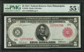 Large Size:Federal Reserve Notes, Fr. 834b $5 1914 Red Seal Federal Reserve Note PMG About Uncirculated 55 EPQ.. ...