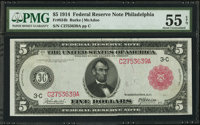 Fr. 834b $5 1914 Red Seal Federal Reserve Note PMG About Uncirculated 55 EPQ