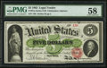 Fr. 61a $5 1862 Legal Tender PMG Choice About Unc 58