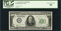 Fr. 2202-B $500 1934A Federal Reserve Note. PCGS Choice About New 58