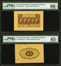 Fractional Currency:First Issue, Fr. 1282SP 25¢ First Issue Wide Margin Face PMG Gem Uncirculated 66EPQ.. Fr. 1282SP 25¢ First Issue Wide Margin Back PMG ... (Total: 2notes)