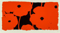 Prints:Contemporary, Donald Sultan (b. 1951). Eight Poppies, 2010. Screenprint inred with black flocking on board. 18 x 34-3/8 inches (45.7 ...
