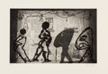 Prints, William Kentridge (b. 1955). The Nose, 2010. Drypoint etching with sugarlift and photogravure on paper. 10-1/2 x 16-3/4 ...