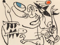 Prints, Joan Miró (1893-1983). Untitled, pl. 29, from Ubu aux baleares, 1971. Lithograph in colors on Arches paper. 19-3/4 x...
