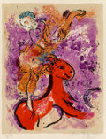Prints:European Modern, Marc Chagall (1887-1985). L'écuyère au cheval rouge, 1957.Lithograph in colors. 20 x 15-1/2 inches (50.8 x 39.4 cm) (im...