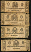 Confederate Notes:1862 Issues, T55 $1 1862 Four Examples.. ... (Total: 4 notes)