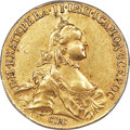 Russia, Russia: Catherine II (the Great) gold 10 Roubles 1762-CПБ AU55 PCGS,...