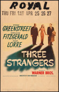 """Movie Posters:Crime, Three Strangers (Warner Brothers, 1946). Window Card (14"""" X 22"""").Crime.. ..."""