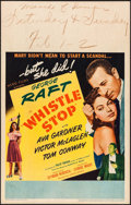 """Movie Posters:Drama, Whistle Stop (United Artists, 1945). Window Card (14"""" X 22""""). Drama.. ..."""