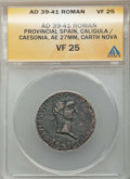 "Ancients:Roman Provincial , Ancients: SPAIN. Carthago Nova. Gaius ""Caligula"" (AD 37-41), withCaesonia. Æ 27mm. ANACS VF 25. ..."