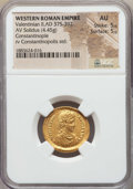 Ancients:Roman Imperial, Ancients: Valentinian II (AD 375-392). AV solidus (4.45 gm). NGC AU5/5 - 5/5....