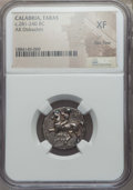 Ancients:Greek, Ancients: CALABRIA. Tarentum. Ca. 281-240 BC. AR stater ordidrachm. NGC XF, flan flaw....