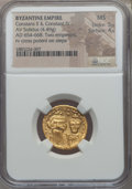 Ancients:Byzantine, Ancients: Constans II & Constantine IV (654-668). AV solidus(4.49 gm). NGC MS 5/5 - 4/5....