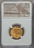 Ancients:Byzantine, Ancients: Maurice Tiberius  (582-602). AV solidus (4.38 gm). NGC MS 3/5 - 3/5, clipped....