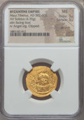 Ancients:Byzantine, Ancients: Maurice Tiberius  (582-602). AV solidus (4.35 gm).NGC MS 3/5 - 3/5, die shift clipped....