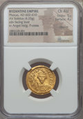 Ancients:Byzantine, Ancients: Phocas (602-610). AV solidus (4.25 gm). NGC ChoiceAU 5/5 - 4/5, clipped....