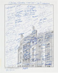 Baseball Collectibles:Others, Circa 1990 New York Yankees Greats Multi-Signed Oversized Print....