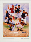 Baseball Collectibles:Others, 2000's Hall of Fame Catchers Multi-Signed Giclee. ...