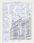 Baseball Collectibles:Others, Circa 2000 New York Yankees Greats Multi-Signed Oversized Print....