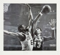 Basketball Collectibles:Others, 1990's Wilt Chamberlain and Bill Russell Signed Lithograph by Stephen Holland. ...