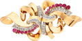 Estate Jewelry:Brooches - Pins, Retro Diamond, Synthetic Ruby, Gold Double-Clip-Brooch. ...