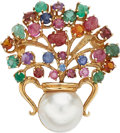 Estate Jewelry:Brooches - Pins, Multi-Stone, Mabe Pearl, Gold Brooch. ...