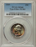 Washington Quarters: , 1959 25C Type B Reverse, FS-901, MS66 PCGS. PCGS Population: (23/0). Mintage 24,300,000. ...