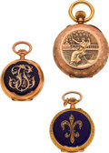 Timepieces:Pendant , Three Swiss Gold Pendant Watches. ... (Total: 3 Items)