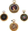 Timepieces:Pocket (pre 1900) , Four Swiss Gold & Enamel Key Wind Watches. ... (Total: 4 Items)