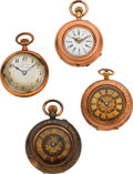 Timepieces:Pocket (pre 1900) , Four Gold Swiss Lady's Pendant Watches. ... (Total: 4 Items)