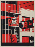 Fine Art - Work on Paper:Print, Shepard Fairey (b. 1970). SF Fire Escape, 2011. Screenprintin colors. 24 x 18 inches (61 x 45.7 cm) (sheet). Ed. 156/45...