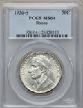 Commemorative Silver, 1936-S 50C Boone MS64 PCGS. PCGS Population: (360/817). NGC Census:(191/656). CDN: $160 Whsle. Bid for problem-free NGC/PC...