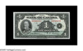 Canadian Currency: , BC-1 $1 1935 Choice Crisp Uncirculated. A lovely example which isjust one light handling mark from the full Gem grade....