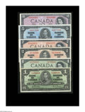 Canadian Currency: , BC-21c, BC-22b, BC-23c, BC-29a, BC-30a, BC-32a $1, $2, $5, $1, $2, $10 Six pieces, all grading from Fine-Very Fine to ... (Total: 6 notes)