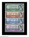 Canadian Currency: , BC-37aA, BC-38aA, BC-39-aA-i, BC-40aA $1, $2, $5, $10 1954 Aquartet of high grade star (replacement) notes, the $1 Crisp ...(Total: 4 notes)
