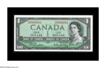 Canadian Currency: , BC-37b $1 1954 Choice About Uncirculated. A lovely example bearingserial number O/N0000001....