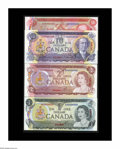 Canadian Currency: , Canadian Specimen Notes Choice CU including BC-46a $1 1973; BC-47a$2 1974; BC-49a $10 1971; and BC-51a $50 1975. Each note ...(Total: 4 notes)