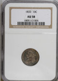 Bust Dimes: , 1833 10C AU58 NGC. NGC Census: (37/146). PCGS Population (22/95).Mintage: 485,000. Numismedia Wsl. Price for NGC/PCGS coin...