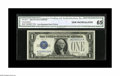 Error Notes:Skewed Reverse Printing, Fr. 1601* $1 1928A Silver Star Certificate. CGA Gem Uncirculated65. A portion of the adjacent note is seen at upper right o...