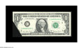 """Error Notes:Foldovers, Fr. 1910-C $1 1977A Federal Reserve Note. Crisp Uncirculated. Thisinteresting cut and fold error has the """"fang"""" from the ne..."""