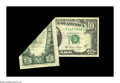 Error Notes:Foldovers, Fr. 2026-J $10 1981A Federal Reserve Note. Fine-Very Fine. A hugeleft side foldover in the upper left-hand position A1 note...