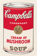 Prints:Contemporary, Andy Warhol (1928-1987). Cream of Mushroom, from theCampbell's Soup I portfolio, 1968. Screenprint in colors. 35x ...