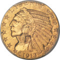 Indian Half Eagles, 1913-S $5 MS63 PCGS....