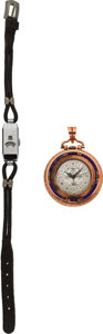 Timepieces:Other , Swiss Direct Read Wristwatch & Enameled Pendant. ... (Total: 2 Items)
