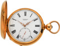 "Timepieces:Pocket (post 1900), Ami Sandoz & Fils Unusual ""Chronomètre"" Gold Free Spring LeverFusee, circa 1860's. ..."