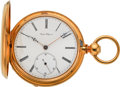 "Timepieces:Pocket (pre 1900) , Auguste Saltzman ""Extra Fine Lever"" 18k Gold Watch With HelicalHairspring, circa 1860's. ..."